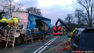 Lorry damaged in high winds