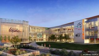 An artist's impression of the Cloffocks leisure centre development