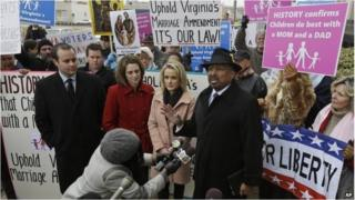 Former Republican candidate for Lt. Gov. EW Jackson during a demonstration outside Federal Court in Norfolk, Virginia on 4 February.