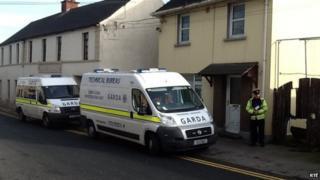 Irish police at the house on Spa Street, Portarlington