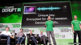 Slick Login team presenting the tech at TechCrunch Disrupt