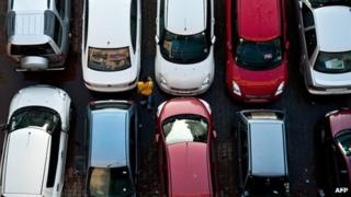 Cars parked in India