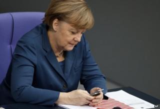 Angela Merkel on the phone