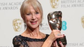 Dame Helen Mirren with her Bafta Fellowship award