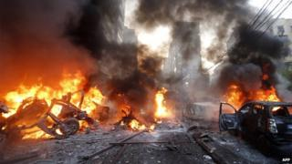 Bomb blast in Beirut's southern suburb of Haret Hreik (2 January 2014)