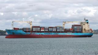 The Maersk Alabama seen in Mombasa, Kenya, on 22 April 2009