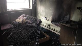 Fire damage to the flat at Parkstone Road