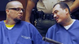 Marvin Norwood (left) and Louie Sanchez in a Los Angeles, California, court on 30 May 2012