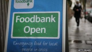 A sign sits outside the Hammersmith and Fulham Foodbank charity at St Simons church on April 4 2013
