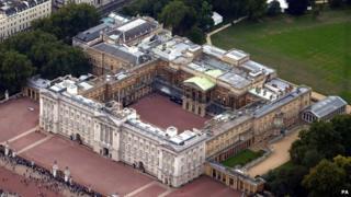 Aerial shot of Buckingham Palace