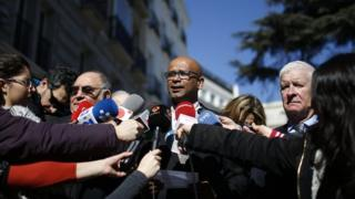 International Verification Commission members speak to the media in Madrid