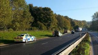 Crash site on A417