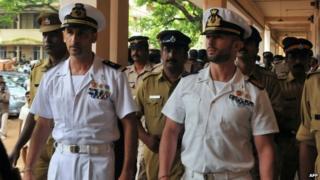 Italian marines Massimiliano Latorre (L) and Salvatore Girone (R)
