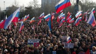 Pro-Russian protest in Sevastopol. Photo: 23 February 2014