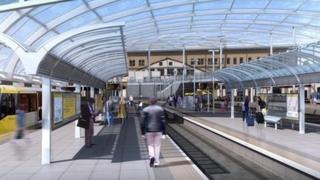 CGI of Metrolink stop at Manchester Victoria Station