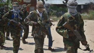 Al-Shabab fighters in Mogadishu, Somalia (5 March 2012)