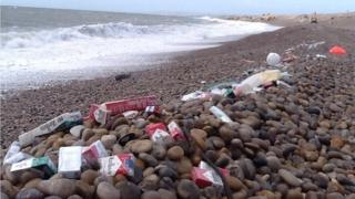 Washed-up cigarettes on Chesil Beach