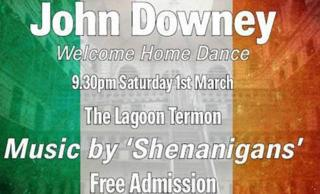 A poster advertising the homecoming event for John Downey