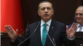 A file photo taken on 14 January showing Turkey's President Recep Tayyip Erdogan delivering a speech to the members of the Turkish Parliament in Ankara