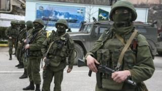 Russian troops in the Crimean town of Balaclava
