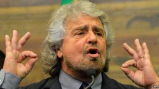 Beppe Grillo, leader of Five-Star Movement, 19/02/2014