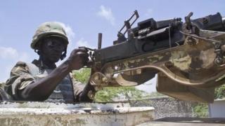 A Ugandan soldier in Afgoye, Somalia, on 1 March 2014