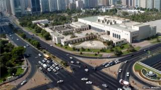 A road junction in Abu Dhabi