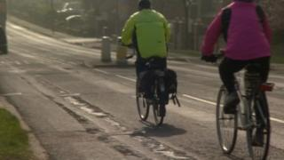 Cyclists on road in Yorkshire