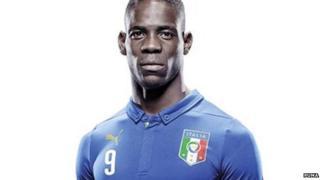 Italy's Mario Balotelli wearing the new national football kit
