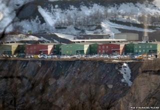 Edge of pit at the iron ore mine in Kiruna