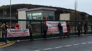 Cymdeithas yr Iaith protest in Aberystwyth