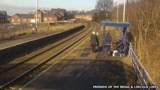 People waiting for a train at Gainsborough