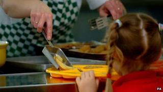 School meal being served