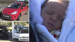 Composite photo of a Ford Ka, Alby Service Station and baby Mason Cox