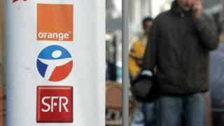 The three logos of French mobile operators : SFR, Bouygues and Orange