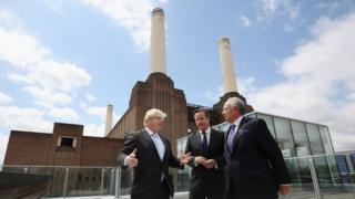 Boris Johnson, David Cameron and Malaysian prime minister Najib Razak at Battersea Power Station