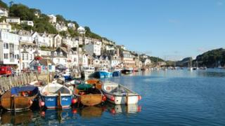 Boats in Looe's harbour