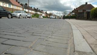 Cobbled street on Gladstone Road in Northampton