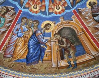 Depiction of Christ healing the blind