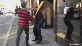 A fight in the street