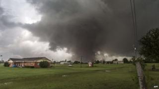 An approaching tornado in Moore, Oklahoma on 20 May 2013