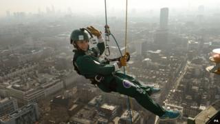 Helen Skelton abseils down the BT Tower in aid of Sport Relief