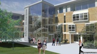 Architect's impression of refurbished university building