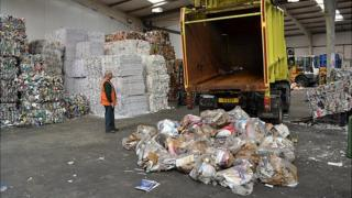 Recyclables being delivered after kerbside collections in Guernsey