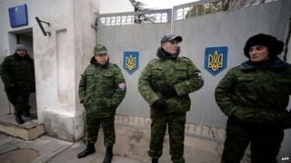 Pro-Russian militias guard Simferopol's military hospital. Photo: 10 March 2014