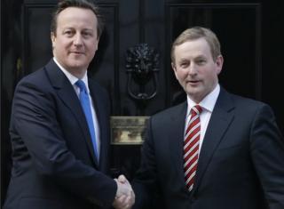 David Cameron greets Taoiseach (Irish Prime Minister) Enda Kenny outside 10 Downing Street in London