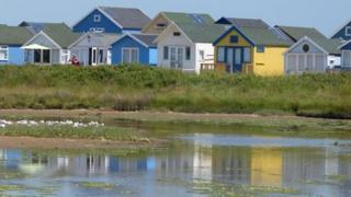beach huts by the water