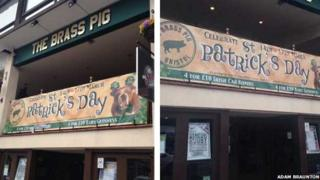 Composite image of a banner for St Patrick's Day party offering four Irish car bombs for £10 and the same sign covered over with tape