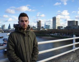 Jonny Benjamin on Waterloo Bridge.