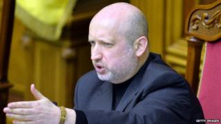 Acting Ukrainian President Oleksandr V Turchynov n Kiev on 23 February